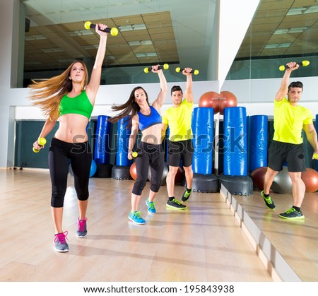 dance cardio people group training at fitness gym workout exercise - stock photo