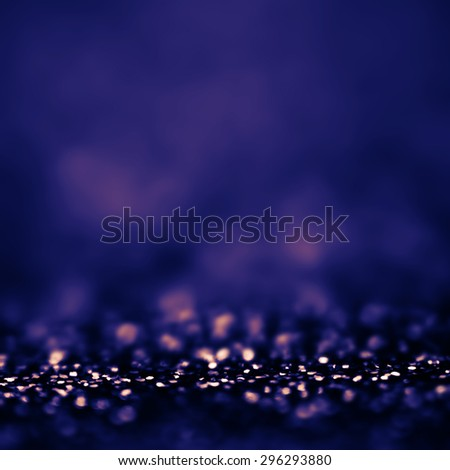 Dark Blue Defocused Bokeh twinkling lights Vintage background. Festive Christmas elegant abstract background with bokeh - stock photo