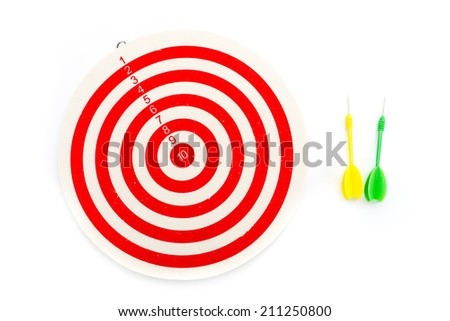 2 dart green and yellow color and 1 target red and white isolated on white background - stock photo