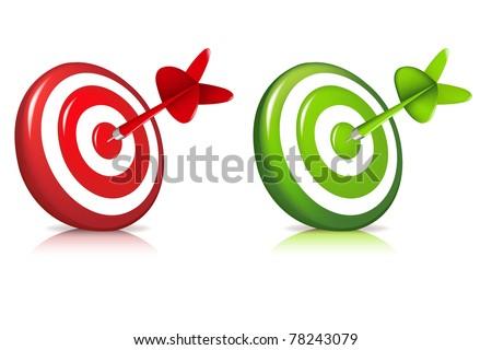 2 Darts Hitting A Target, Isolated On White Background - stock photo