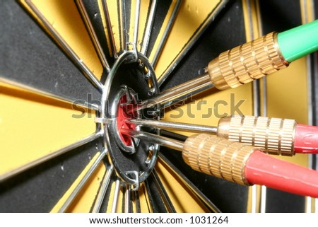 3 darts in goal - stock photo