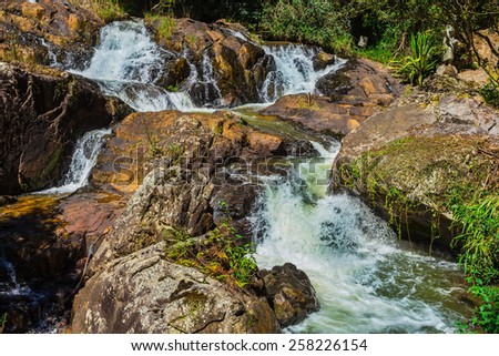 Datanla waterfall. It is located 5 km away from the city center. - stock photo