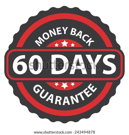 60 days money back guarantee on red vintage, retro sticker, badge, icon, stamp isolated on white  - stock photo