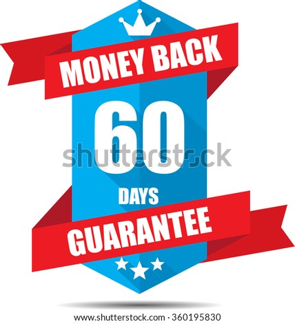 60 days money back guarantee Promotional Sale Blue Sign, Seal Graphic With Red Ribbons. A Specified Period Of Time. - stock photo