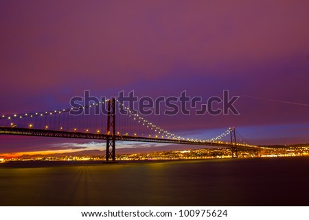 25 de Abril Suspension Bridge in Lisbon at sundown