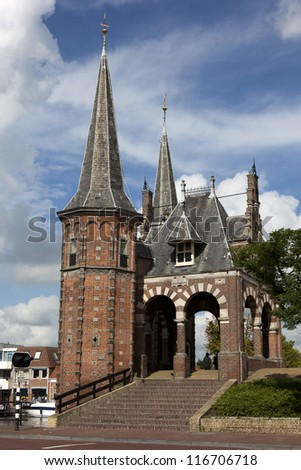"""De Sneker waterpoort"" an old water gate in Sneek - stock photo"