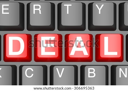 Deal button on modern computer keyboard image with hi-res rendered artwork that could be used for any graphic design.