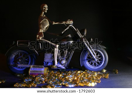"""Death rides a Chopper"" Drugs and Riding dont mix - stock photo"