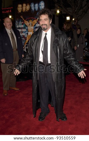 "16DEC99: Actor AL PACINO at the world premiere, in Los Angeles, of his new movie Oliver Stone's ""Any Given Sunday"" in which he stars with Cameron Diaz & Dennis Quaid.  Paul Smith / Featureflash - stock photo"