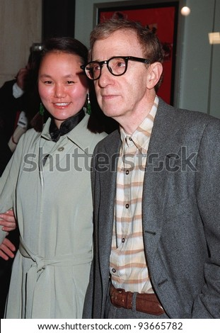 "05DEC97: Actor/director WOODY ALLEN & girlfriend SOON LI at world premiere of his new movie, ""Deconstructing Harry"" in Century City, Los Angeles. - stock photo"