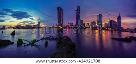 23 DEC 2015: Downtown Saigon in sunset, Ho Chi Minh city is the biggest city in Vietnam.