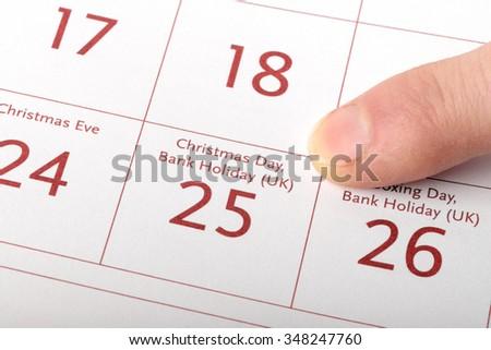 25 december calendar sheet - stock photo