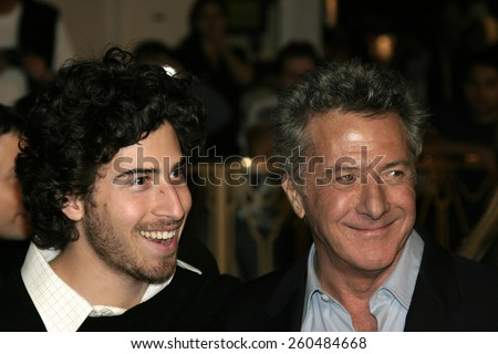 16 December 2004 - Hollywood, California - Dustin Hoffman and his son. The premiere of 'Meet The Fockers' at the Universal Amphitheatre Universal Studios in Hollywood.  - stock photo