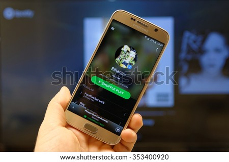 20 December 2015, Istanbul - Turkey: Spotify Swedish music service that offers legal streaming music. Was launched in October 2008. Rihanna album in Spotify mobile app. - stock photo