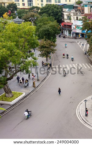 07 December, 2014, Le Thai To Street is viewed from above. this street is around Sword Lake in Hanoi, Vietnam