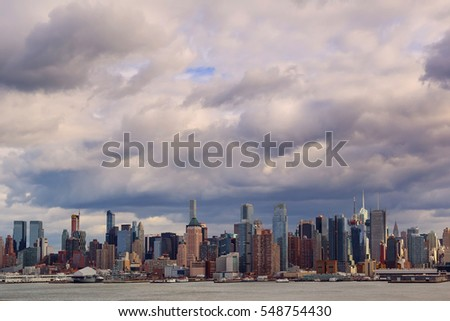 30 December 2016 New York USA  Storm Clouds Over New York City storm clouds over Manhattan