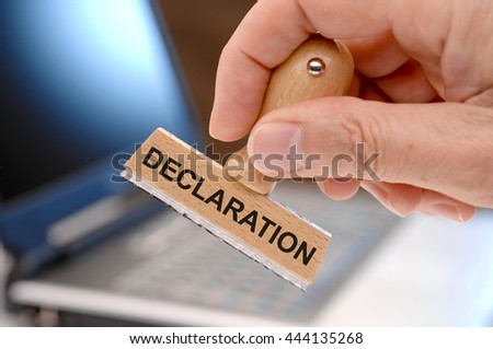declaration printed on rubber stamp