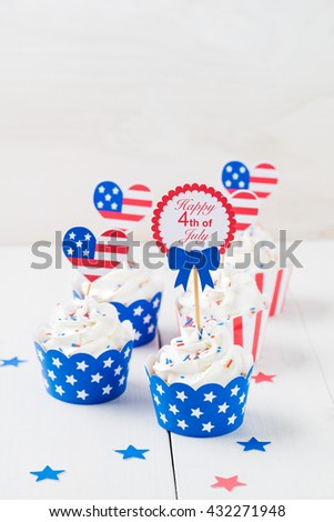 Decorated cupcakes on white table to celebrate July 4th