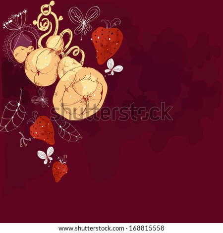 Decorative background with pears in art nouveau style - stock photo