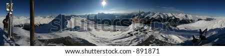 360 degree panorama from the top of the Jakobshorn mountain in Davos, Switzerland. - stock photo