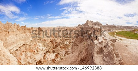 180 degree panorama of badlands national park in south dakota, usa - stock photo