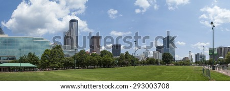 180 degree panorama of Centennial Olympic Park in Atlanta, Georgia - stock photo