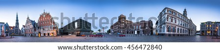 360 degree panorama of City Hall Square with House of the Blackheads, Saint Peter church, City Hall, Techical university and Ocupation museum in Riga Old Town - stock photo