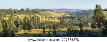 180 degree panorama of Ethiopian highlands and farms - stock photo