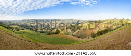 180 degree panorama of Ethiopian highlands with farms - stock photo