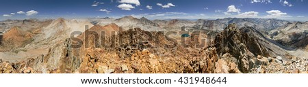 360 degree panorama of the Sierra Nevada Mountains from Crater Mountain in Kings Canyon National Park - stock photo