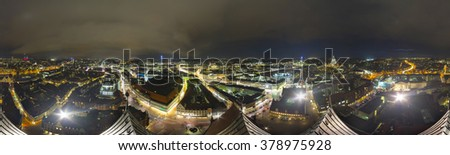360 degree panoramic view of Hannover at night