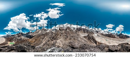 360 Degrees Panoramic View from Gokyo Ri. Himalaya, Nepal - stock photo
