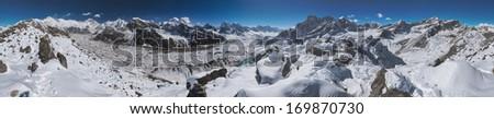 360 Degrees Panoramic View from Gokyo Ri over Mount Everest, Lhotse, Gokyo Lake, and the Ngozumpa Glacier, Himalaya, Nepal - stock photo