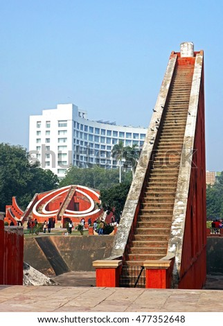 DELHI, INDIA - JAN 12, 2015: The Jantar Mantar is located in the modern city of New Delhi, India