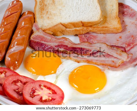Delicious, american breakfast,  bacon, fried egg  and ham