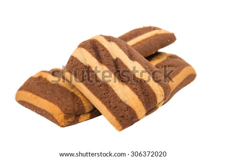 delicious chocolate striped cookies isolated on white - stock photo