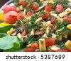 Delicious vegetable salad with cheese, potato and dill - stock photo