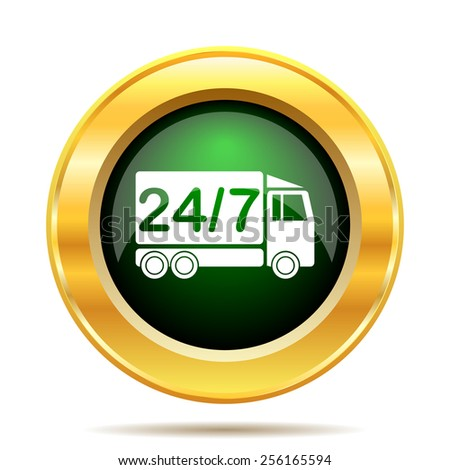 24 7 delivery truck icon. Internet button on white background.  - stock photo
