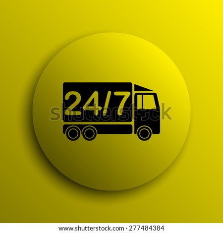 24 7 delivery truck icon. Yellow internet button.  - stock photo