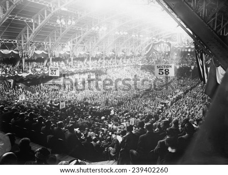 1912 Democratic Convention nominated Woodrow Wilson. Broad view of convention delegates at the Fifth Regiment Armory, Baltimore, Maryland. - stock photo