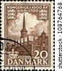 DENMARK - CIRCA 1953: A stamp printed in Denmark shows Copenhagen Stock Exchange, circa 1953 - stock photo
