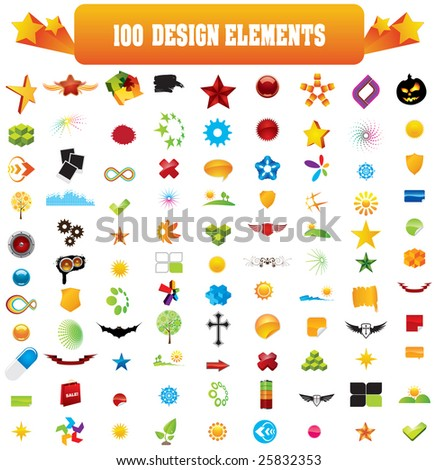 100 design elements. Look the vector version of this illustration in my portfolio. - stock photo