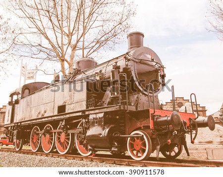 Detail of ancient steam train locomotive vehicle vintage