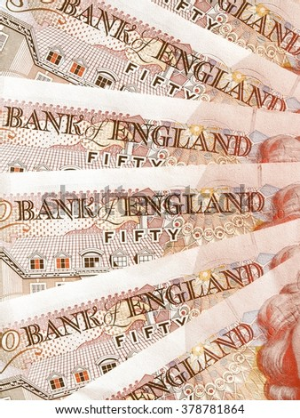 Detail of British Pounds banknotes money vintage - stock photo