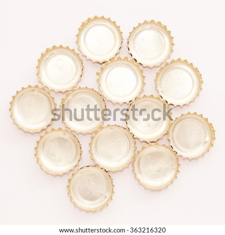 Detail of many beer bottle caps vintage - stock photo