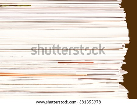 Detail of office paper documents or letters vintage