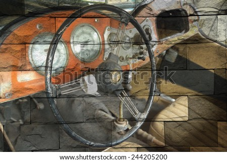 """""""detail of retro car"""" Mural. The brick painting  concept - stock photo"""