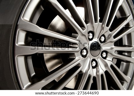 Detail of the aluminum wheel of a modern sports car. Aluminum wheel.