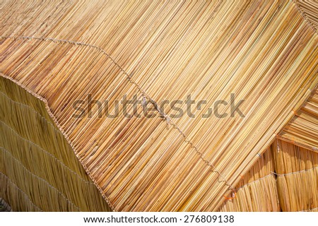 Detail of traditional reed hut on lake Titicaca, Floating island of Uros, Peru - stock photo