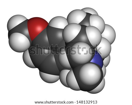 Dextromethorphan cough suppressant drug (antitussive), chemical structure. Atoms are represented as spheres with conventional color coding: hydrogen (white), carbon (grey), oxygen (red), etc